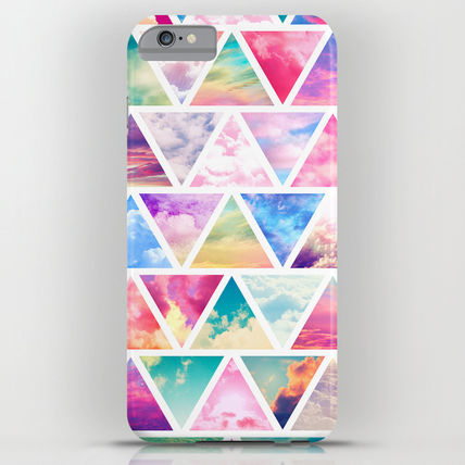 Society6 iPhone・スマホケース Society6 ケース Pink Clouds Teal Sky Abstract Triangles