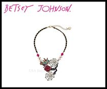 Betsey Johnson Creepshow Toc Owl Spider Web Frontal Necklace