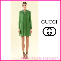 GUCCI★グッチ★素敵!Green Silk Dress w/Cutout Detail