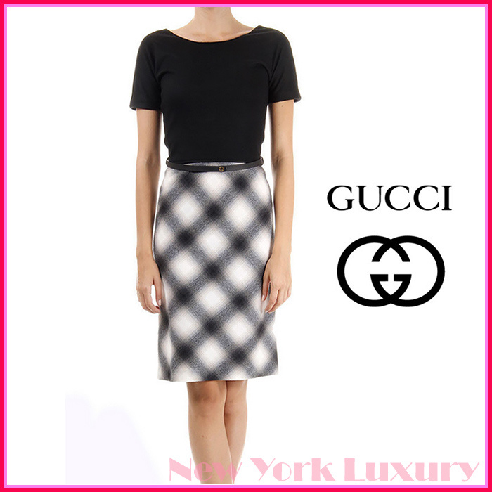GUCCI★グッチ★素敵!WOOL  FLANNEL DRESS WITH LEATHER BELT
