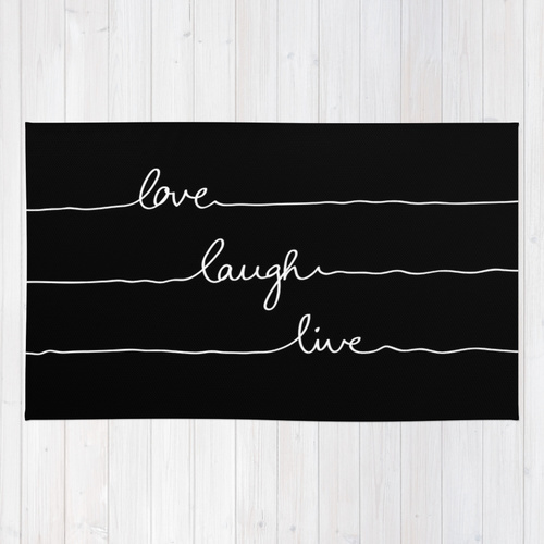 Society6★ラグマット★Love Laugh Live◆M:91.0cm × 152.0cm