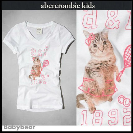 Abercrombie & Fitch キッズ用トップス 【アバクロキッズ】大人も着用可☆可愛い猫ちゃんTシャツ 即納