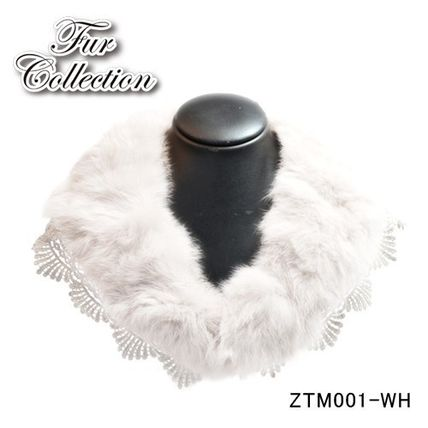 Sale price genuine rabbit fur + lace Tippet with collar 2