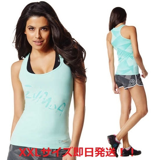 XXL即納【ZUMBA】ズンバ SLIM SHADED RACERBACK(ブルー)