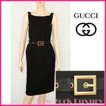GUCCI★グッチ★素敵!Black Dress With Leather Belt