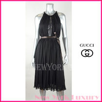 GUCCI★グッチ★素敵!Lace Detail Black Dress With Belt