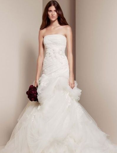 最安値★追跡便関税込★Vera Wang Strapless Tulle and Organza