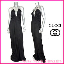 GUCCI★グッチ★素敵!BLACK VISCOSE V-NECK JERSEY GOWN