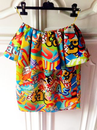 2014AW MOSCHINO COUTURE! スナック総柄MIXスカート 40 SALE