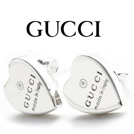 14AW新作 ☆Gucci☆ Trademark Engraving ハートピアス♪