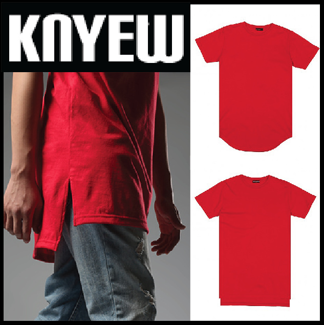 NEW!! 大人気☆ KNYEW E-Long Tee Red (Scoop or  Hi-Lo)