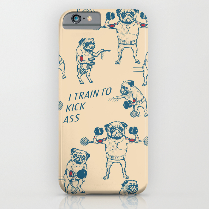 Society6 ケース Pug Workout by Huebucket