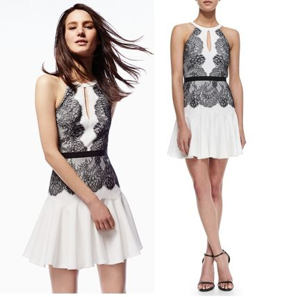 BCBG MAXAZRIA lace embroidered black and white cocktail