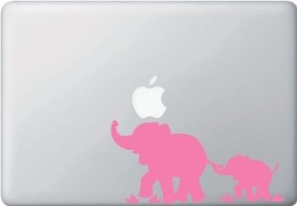 MacBook 対応 アートステッカー Mom and Baby Elephant (PINK)