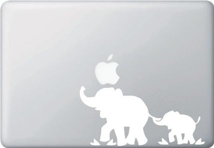 MacBook 対応 アートステッカー Mom and Baby Elephant (WHITE)