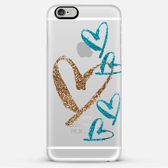 【送料込】☆Casetify AQUA GOLD HEARTS iPhoneクリアケース☆