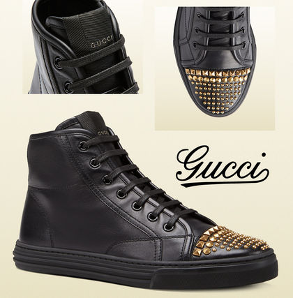 """VIP sale GUCCI's studded leather high-top sneakers black"