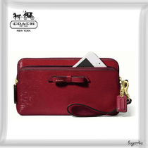 COACH★POPPY DOUBLE ZIP WALLET IN TEXTURED PATENT LEATHER