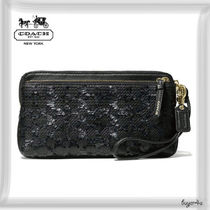 COACH★POPPY DOUBLE ZIP WALLET IN SEQUIN SIGNATURE C FABRIC