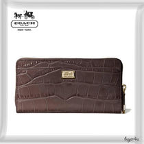 COACH★MADISON ACCORDION ZIP IN CROC EMBOSSED LEATHER