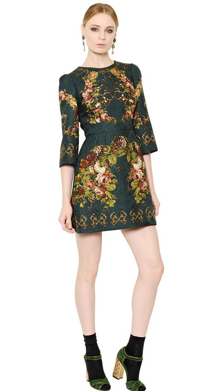 Dolce & Gabbana★素敵! 3/4-Sleeve Floral & Key-Print Dress