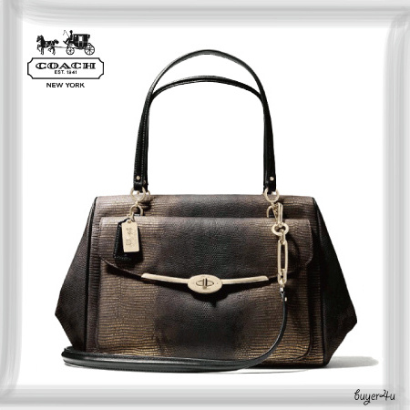 COACH★WEST SATCHEL IN METALLIC SPOTTED LIZARD LEATHER