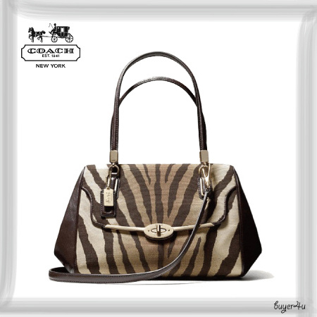 COACH★MADELINE EAST/WEST SATCHEL IN ZEBRA PRINT FABRIC