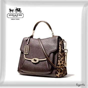 COACH★MADISON SMALL SADIE FLAP SATCHEL IN PRINTED HAIRCALF