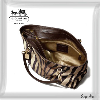 COACH新作★MADISON EAST/WEST TOTE IN ZEBRA PRINT FABRIC