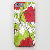Society6 ケース red peonies by Marcella Wylie