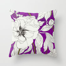 Society6★クッションカバー★Purple Peonies by Marcella Wylie