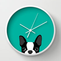 Society6★置き時計・掛け時計★Boston Terrier by Anne Was He
