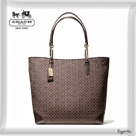 COACH*MADISON NORTH/SOUTH TOTE IN OP ART NEEDLEPOINT FABRIC