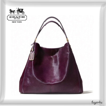 COACH★MADISON LARGE PHOEBE SHOULDER BAG IN MIXED HAIRCALF