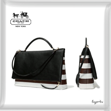 COACH★THE LARGE URBANE BAG IN BAR STRIPE LEATHER