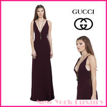 GUCCI★グッチ★素敵!SILK CREPE V NECK GOWN IN BURGUNDY