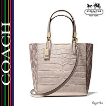 COACH★MADISON MINI NORTH/SOUTH BONDED TOTE IN OCELOT FABRIC