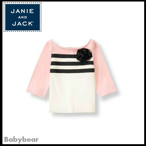 【Janie and Jack】薔薇のコサージュカラーブロックトップ 即納