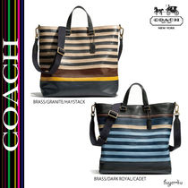COACH★BLEECKER DAY TOTE IN BAR STRIPE LEATHER