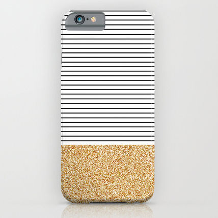 Society6 iPhone・スマホケース Society6 ケース Minimal Gold Glitter Stripes by Allyson John