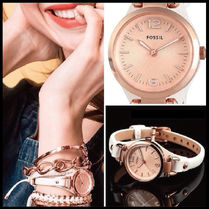 Fossil(フォッシル) アナログ腕時計 大人気☆ Fossil - ROSE GOLD TONE MINI GEORGIA WHITE LEATHER