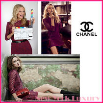 CHANEL★素敵!Edgy See Through Red Pink Crochet Knit Dress