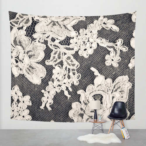 Society6◆タペストリー◆black and white lace- Photograph of