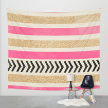 Society6◆タペストリー◆PINK AND GOLD STRIPES AND ARROWS by