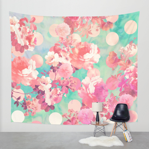 Society6◆タペストリー◆Romantic Pink Retro Floral Pattern