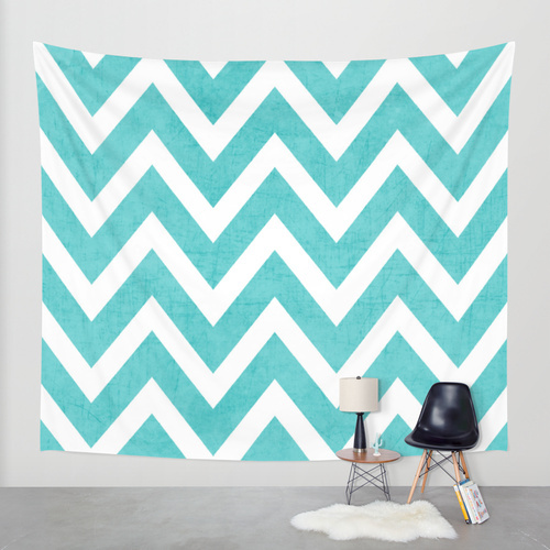 Society6◆タペストリー◆aqua chevron by her art