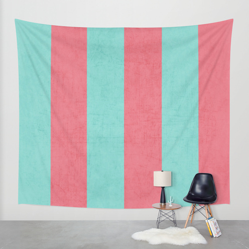 Society6◆タペストリー◆vintage coral and teal stripes by h