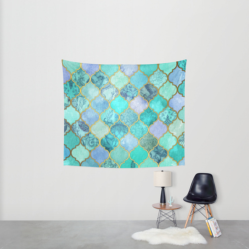 Society6◆タペストリー◆Cool Jade & Icy Mint Decorative Mor