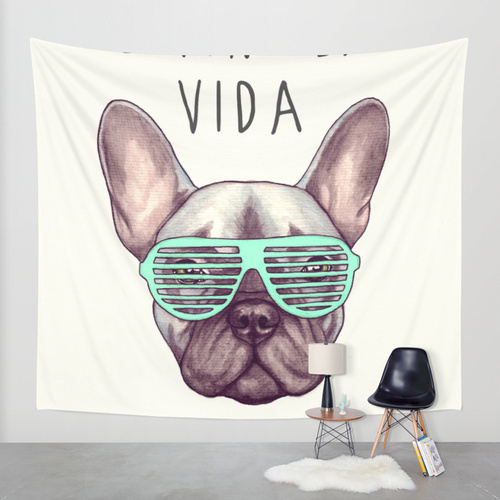 Society6◆タペストリー◆Livin' la vida Frenchie by PaperTig