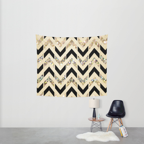 Society6◆タペストリー◆Black & Gold Glitter Herringbone Ch
